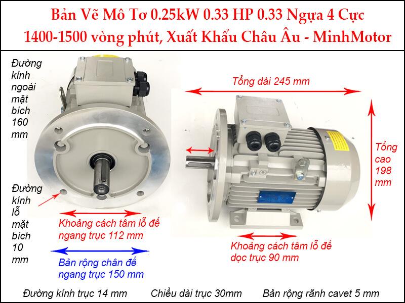Bản vẽ motor parma mặt bích 0.25kW 0.34HP 0.34 Ngựa 4 Cực