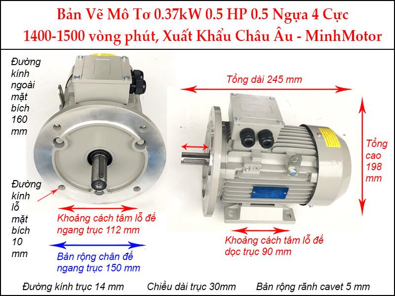 Bản vẽ motor mặt bích 0.37kW 0.55HP 0.55 Ngựa 4 Cực
