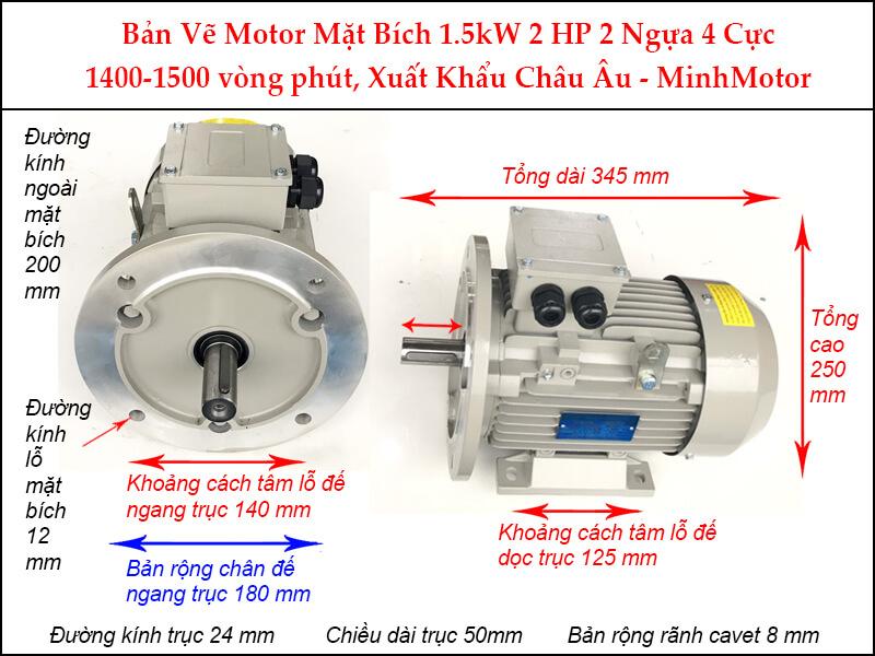 Bản vẽ motor mặt bích 1.5kW 2Hp 2 Ngựa 4 Cực
