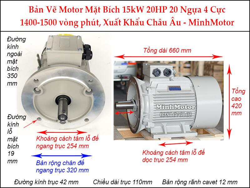 Parma motor 4 cực mặt bích 3 pha 15Kw 20Hp