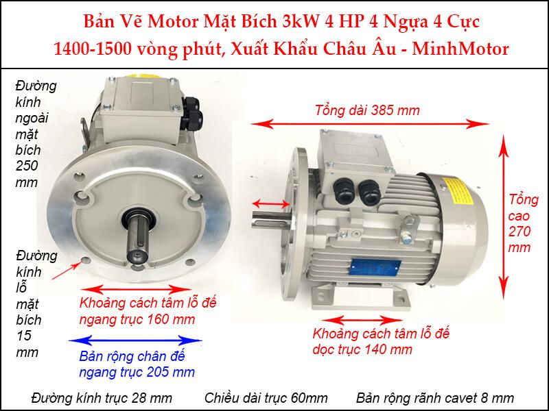 Bản vẽ motor mặt bích 3kW 4Hp 4 ngựa 4 Cực