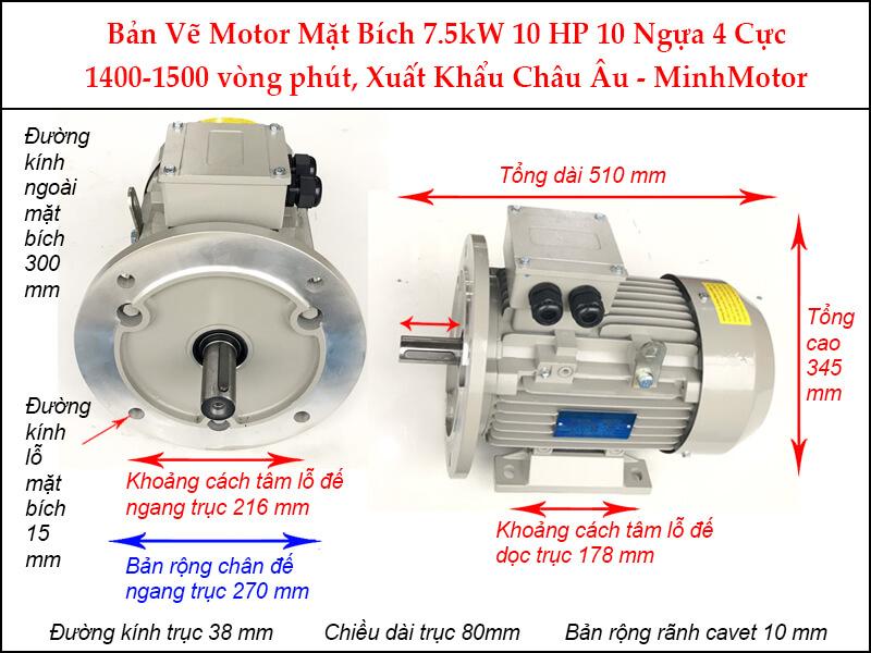 Bản vẽ motor mặt bích 7.5Kw 10Hp 10 Ngựa 4 Cực