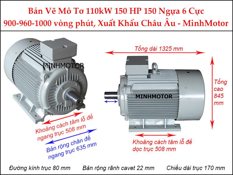 Bản vẽ motor chân đế 110Kw 150Hp 150 Ngựa 6 Cực