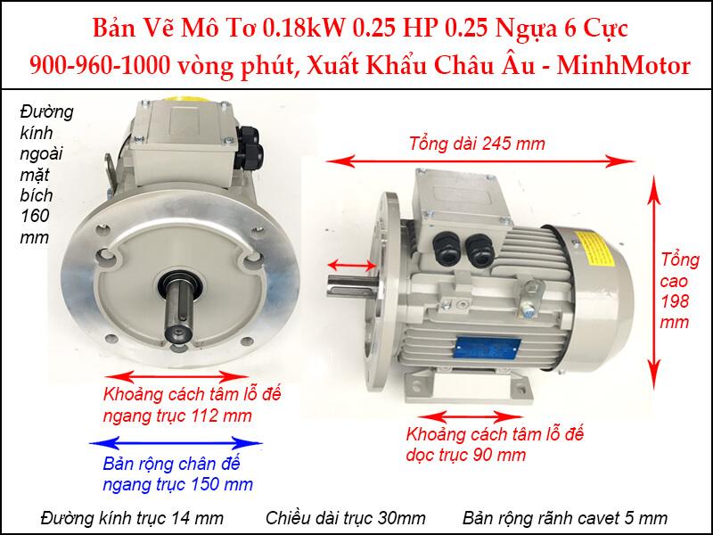 Bản vẽ motor parma mặt bích 0.18kW 0.25HP 0.25 Ngựa 6 Cực