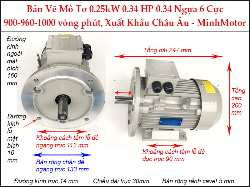 ản vẽ motor parma mặt bích 0.25kW 0.34HP 0.34 Ngựa 6 Cực