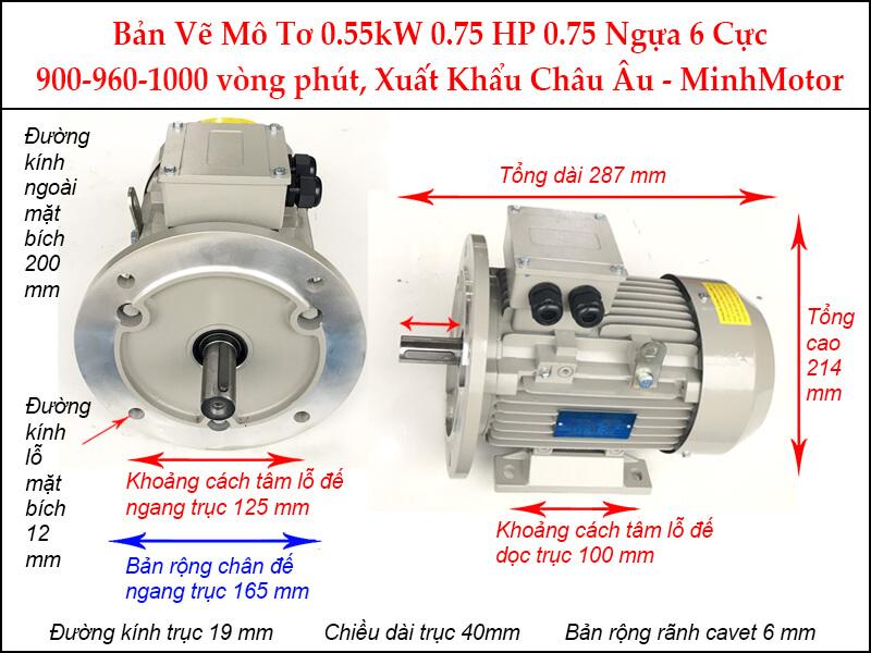 Bản vẽ motor mặt bích 0.55kW 0.75HP 0.75 Ngựa 6 Cực