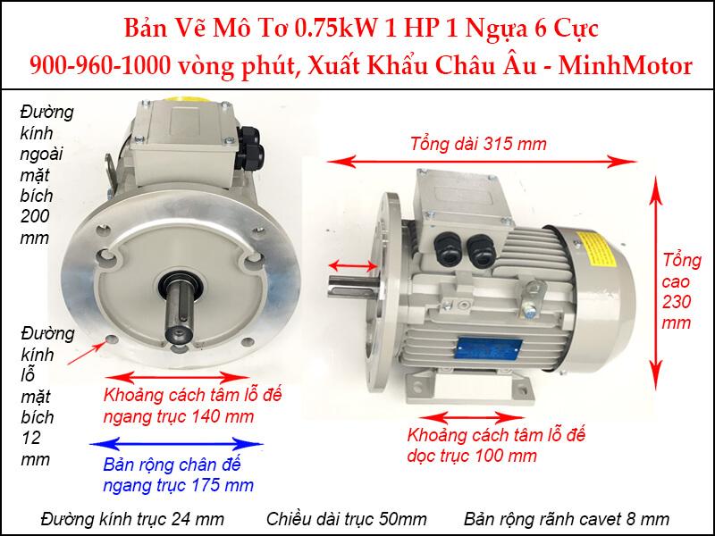 Bản vẽ motor mặt bích 0.75kW 1Hp 1 Ngựa 6 Cực