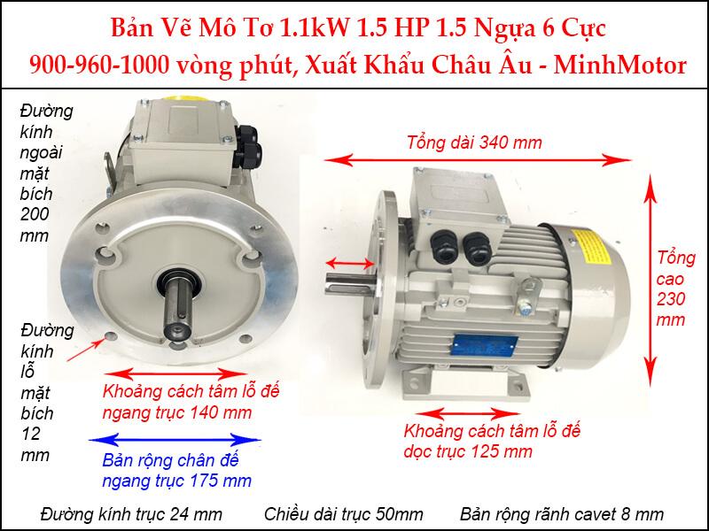 Bản vẽ motor mặt bích 1.1kW 1.5Hp 1.5 ngựa 6 Cực