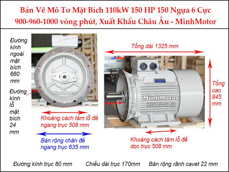Bản vẽ motor mặt bích 110Kw 150Hp 150 Ngựa 6 Cực