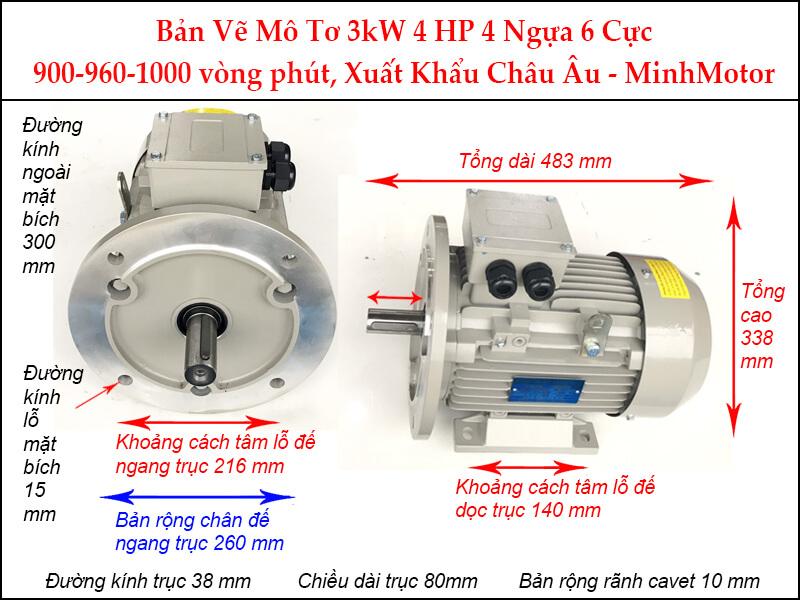 Bản vẽ motor mặt bích 3kW 4Hp 4 ngựa 6 Cực