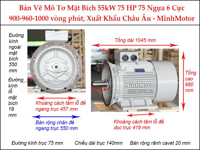 Bản vẽ motor mặt bích 55kW 75Hp 75 Ngựa 6 cực