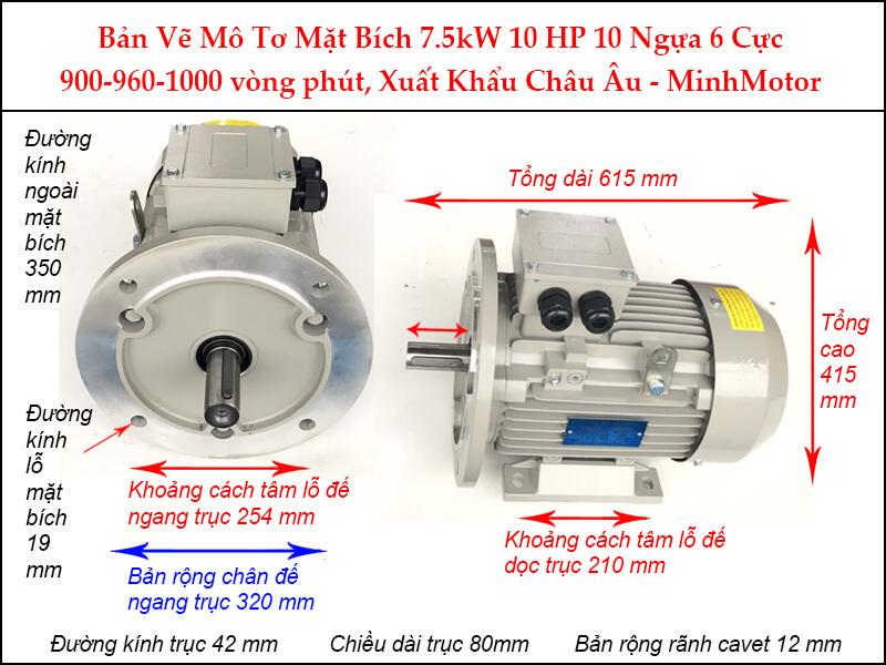 Bản vẽ motor mặt bích 7.5Kw 10Hp 10 Ngựa 6 Cực