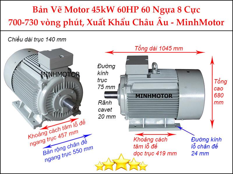 Motor điện 60Hp 45kw 8pole chân đế