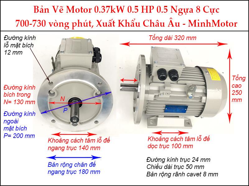 Motor điện 0.5Hp 0.37kw 8pole mặt bích