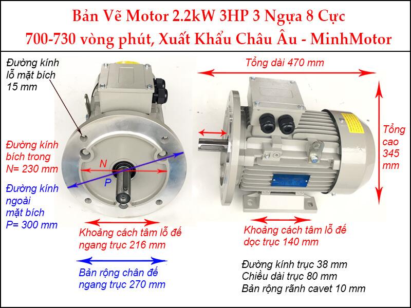 Motor 3Hp 2.2kw 8pole mặt bích