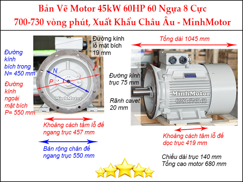Motor điện 60Hp 45kw 8pole mặt bích