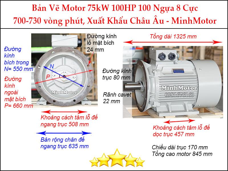 Motor điện 100Hp 75kw 8 pole mặt bích