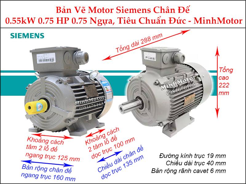 bản vẽ motor siemens chân đế 0.55kw 0.75hp 0.75 ngựa