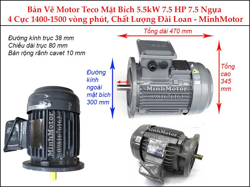 Bản vẽ motor teco mặt bích 5.5Kw 7.5Hp 7.5 ngựa 4 cực
