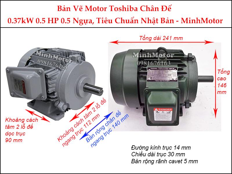 bản vẽ motor toshiba chân đế 0.37kw 0.5hp 0.5 ngựa