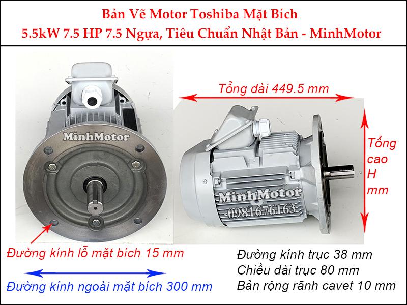 bản vẽ motor toshiba mặt bích 5.5kw 7.5hp 7.5 ngựa