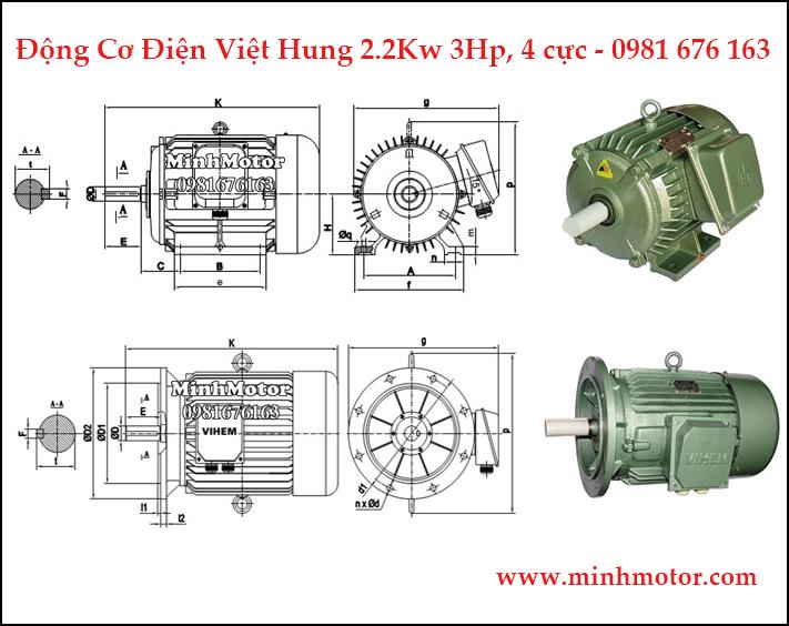 động cơ điện Việt Hung 2.2kw 3hp 4 cực