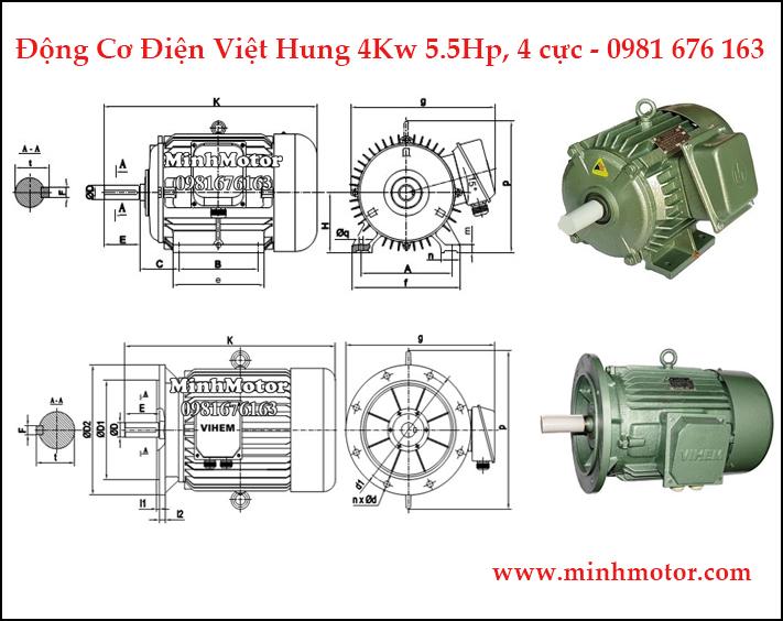 động cơ điện Việt Hung 3.7kw, 4kw 5hp 4 cực