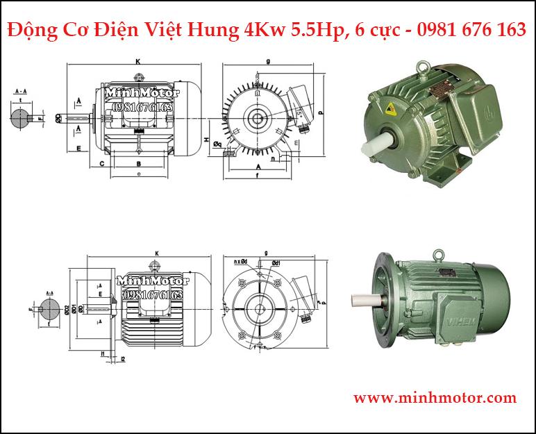 động cơ điện Việt Hung 3.7kw, 4kw 5hp 6 cực