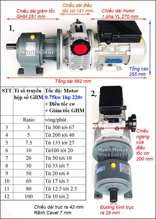 Bộ điều tốc motor 220v 1 pha 0.75Kw 1Hp GHM