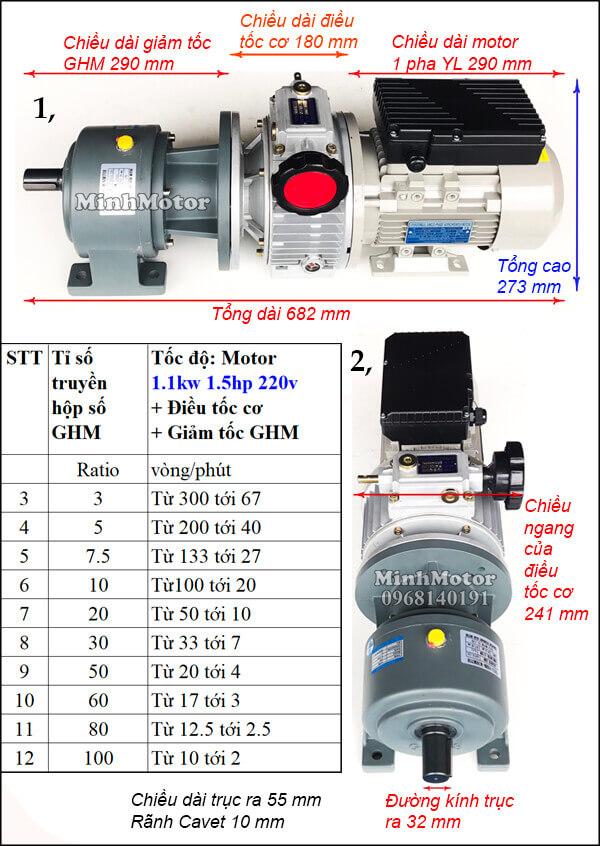 Bộ điều tốc motor 220v 1 pha 1.1Kw 1.5Hp chân đế