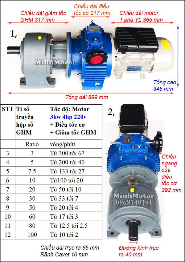 Bộ điều tốc motor 220v 1 pha 3Kw 4Hp chân đế