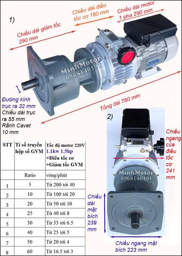 Bộ điều tốc motor 220v 1 pha 1.1Kw 1.5Hp