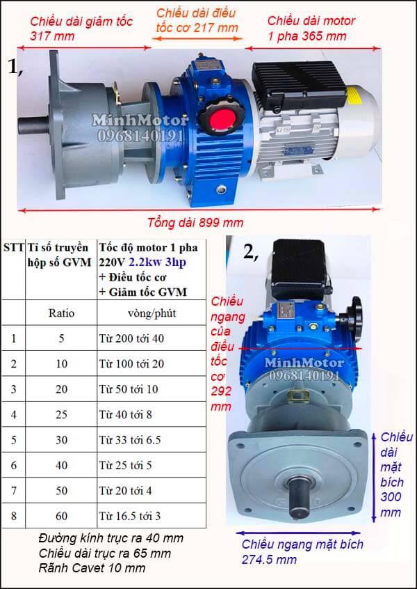 Bộ điều tốc motor 220v 1 pha 2.2Kw 3Hp