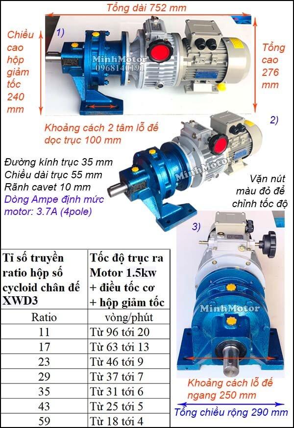Bộ điều tốc motor 3 pha 1.5Kw 2Hp cyclo chân đế bánh răng hành tinh XWD3