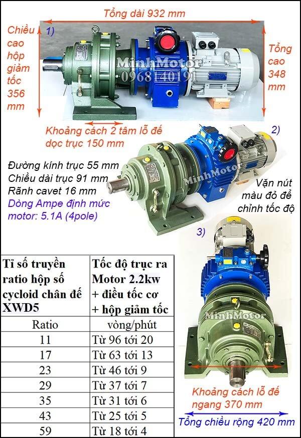 Bộ điều tốc motor 3 pha 2.2Kw 3Hp cyclo chân đế bánh răng hành tinh XWD5