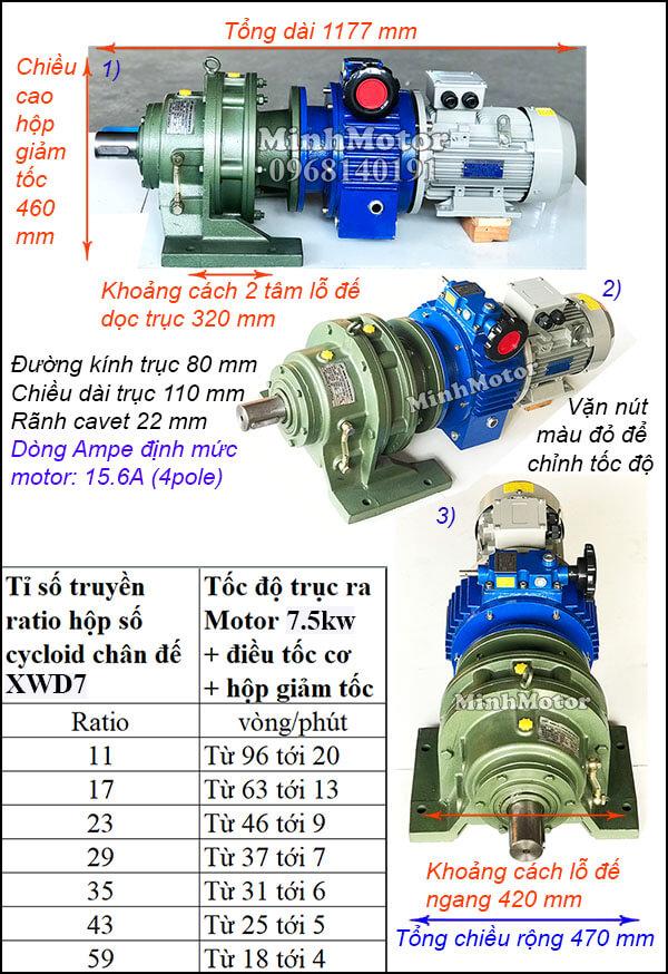Bộ điều tốc motor 3 pha 7.5Kw 10Hp cyclo chân đế bánh răng hành tinh XWD7