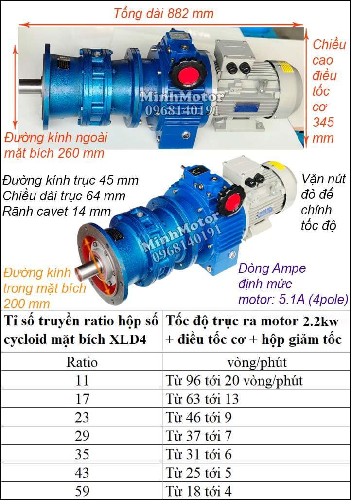 Bộ điều khiển motor khuấy Cyclo 2.2Kw 3Hp XLD4