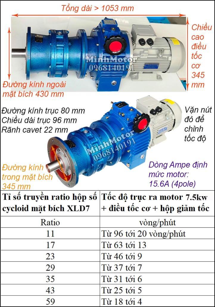Bộ điều khiển motor khuấy Cyclo 7.5Kw 10Hp XLD7