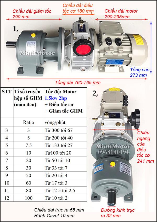 Motor điều tốc 3 pha 1.5Kw 2Hp trục thẳng