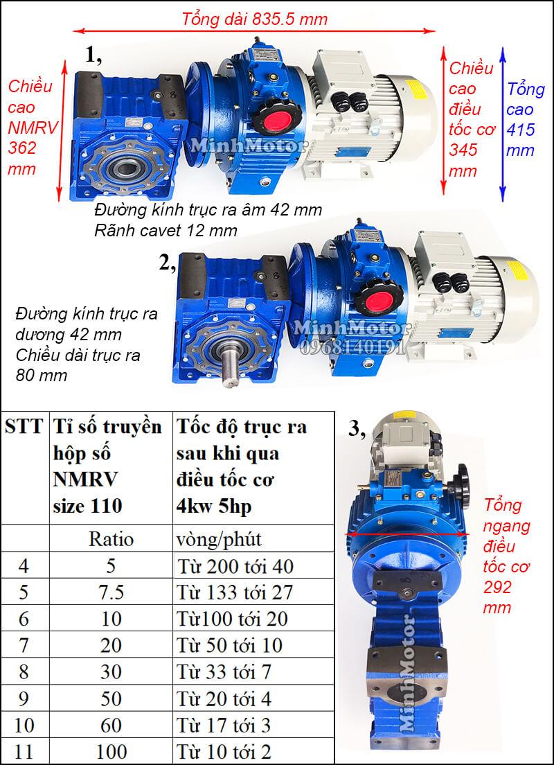Motor điều chỉnh tốc độ 4Kw 3.7Kw 5Hp gắn trục vít bánh vít NMRV size 110