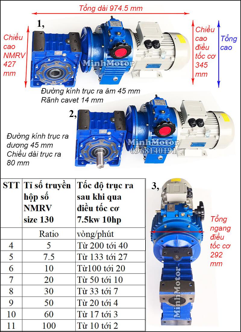 Motor điều chỉnh tốc độ 7.5Kw 10Hp gắn trục vít bánh vít NMRV size 130