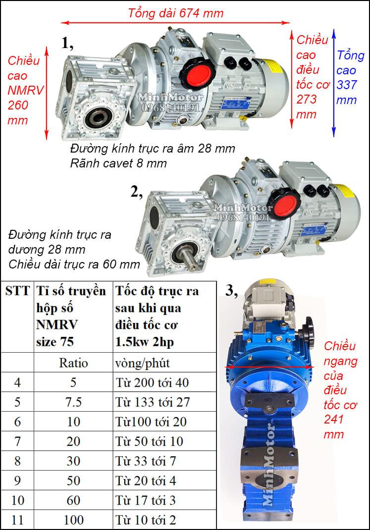 Motor điều chỉnh tốc độ 1.5Kw 2Hp gắn trục vít bánh vít NMRV size 75