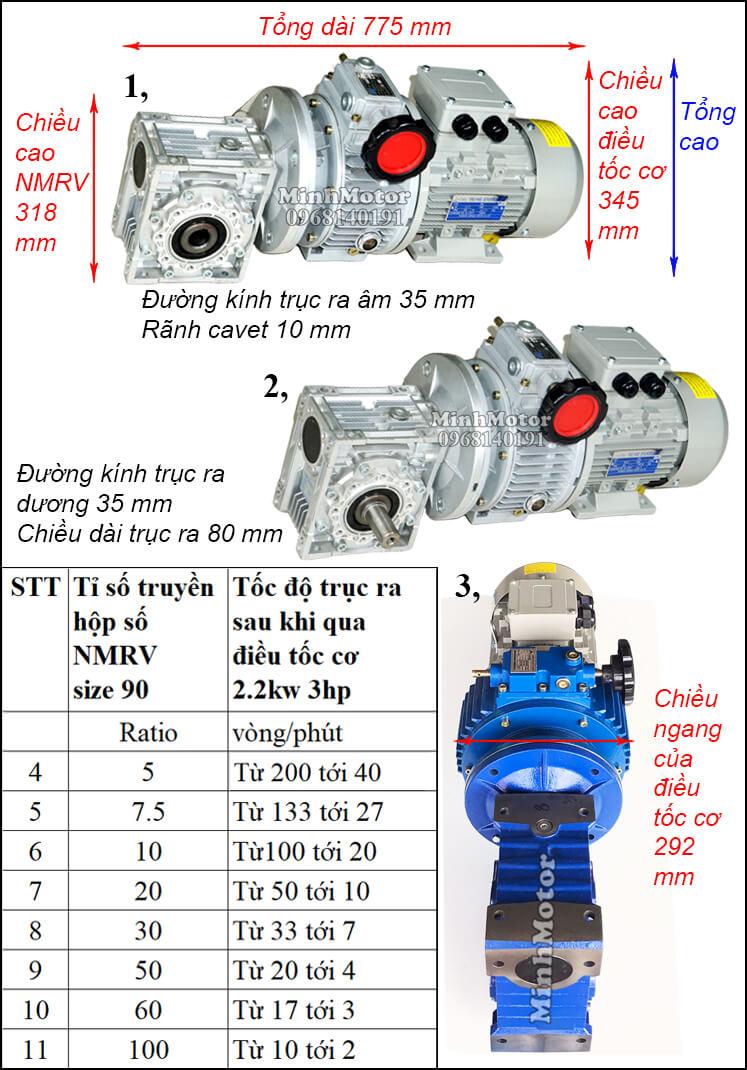 Motor điều chỉnh tốc độ 2.2Kw 3Hp gắn trục vít bánh vít NMRV size 90