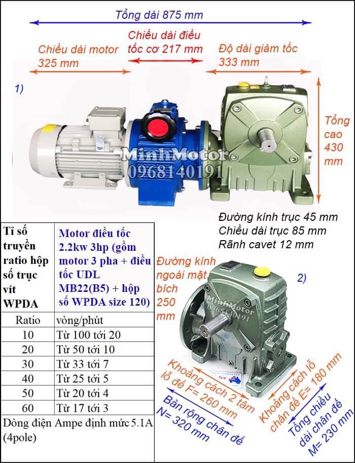 Motor điều chỉnh tốc độ 2.2Kw 3Hp hộp giảm tốc cốt trục ngang Đài Loan WPDA size 120