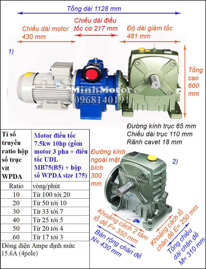 Motor điều chỉnh tốc độ 7.5Kw 10Hp hộp giảm tốc cốt trục ngang Đài Loan WPDA size 175