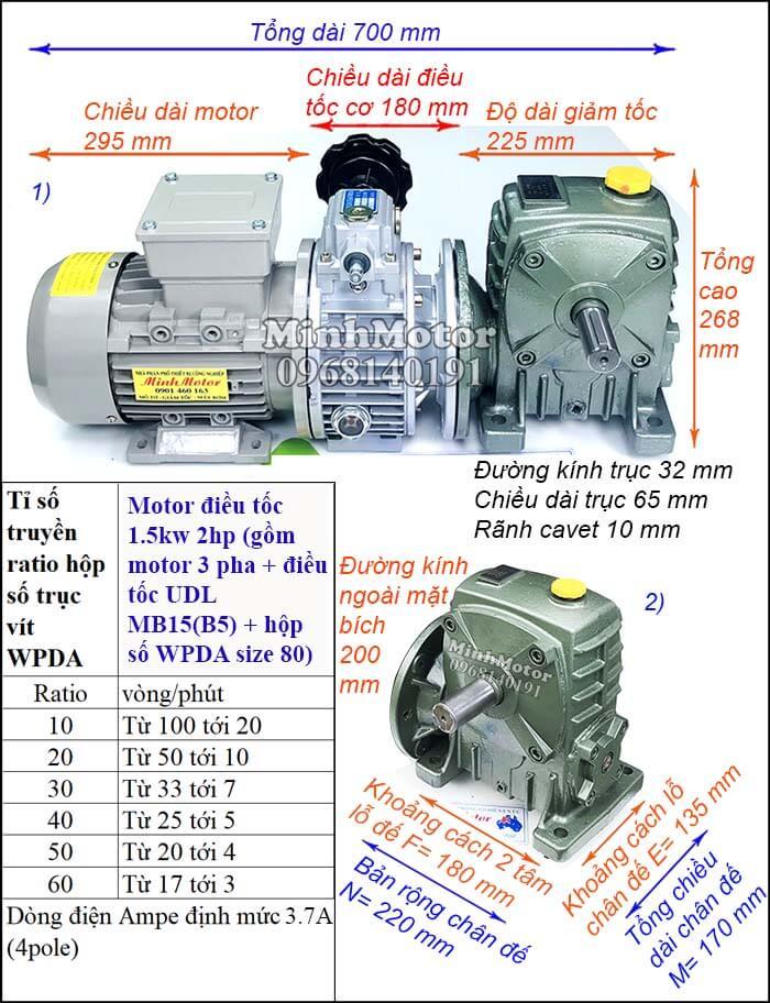 Motor điều chỉnh tốc độ 1.5Kw 2Hp hộp giảm tốc cốt trục ngang Đài Loan WPDA size 80