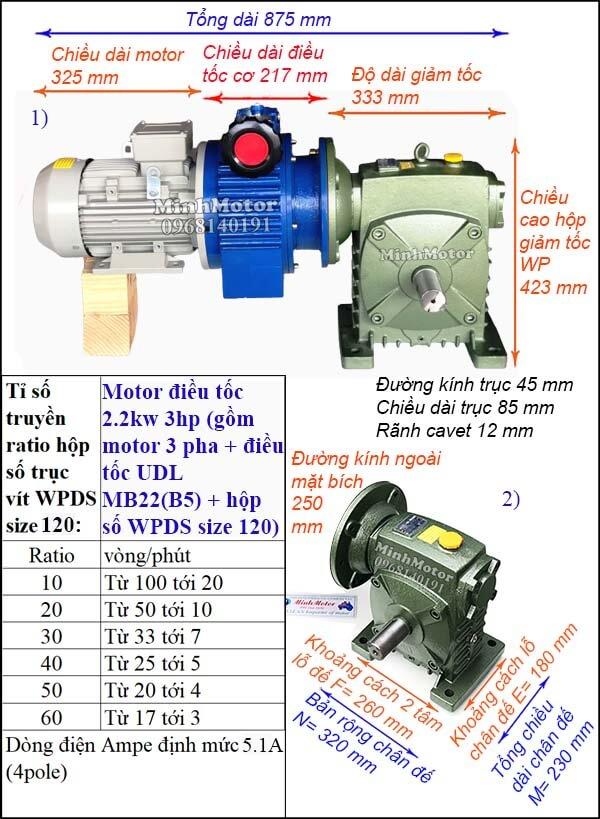 Motor điều chỉnh tốc độ 2.2Kw 3Hp hộp giảm tốc cốt ra vuông góc size 120