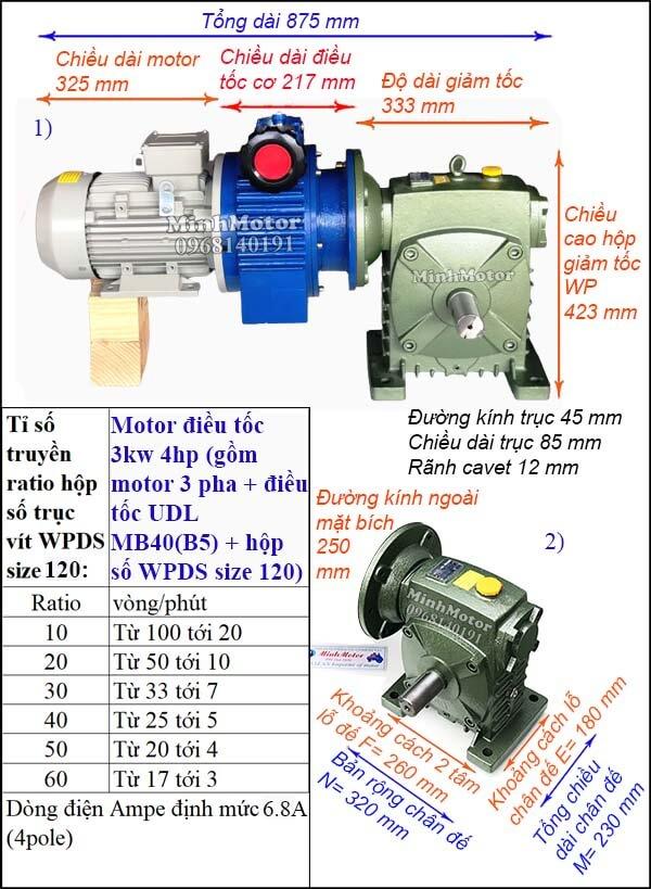 Motor điều chỉnh tốc độ 3Kw 4Hp hộp giảm tốc cốt ra vuông góc size WPDS 120