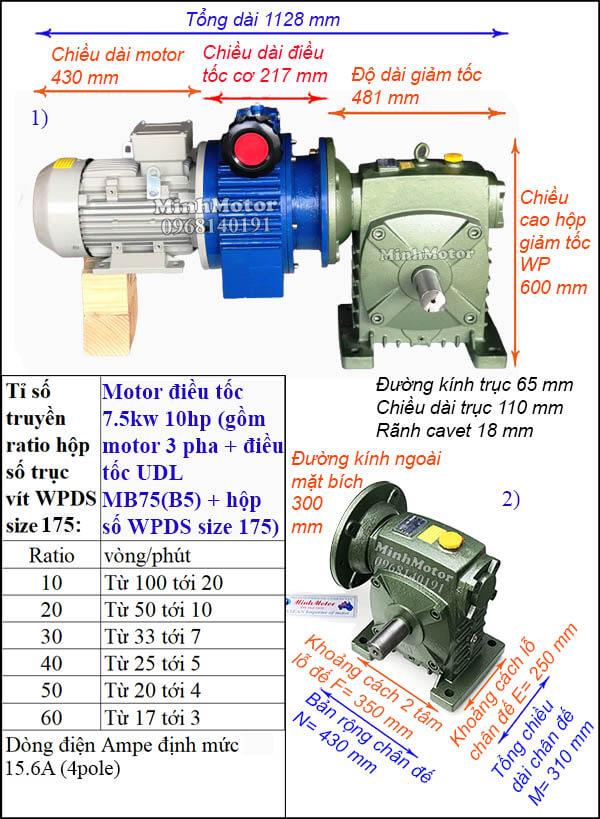 Motor điều chỉnh tốc độ 7.5Kw 10Hp hộp giảm tốc cốt ra vuông góc WPDS size 175
