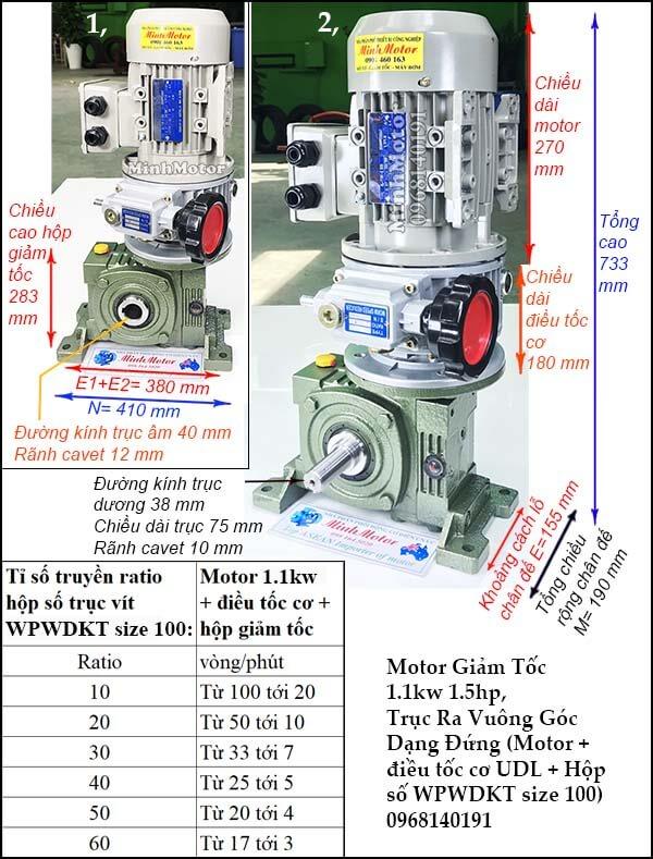 Motor điều chỉnh tốc độ 1.1Kw 1.5Hp cốt trục vít size 80